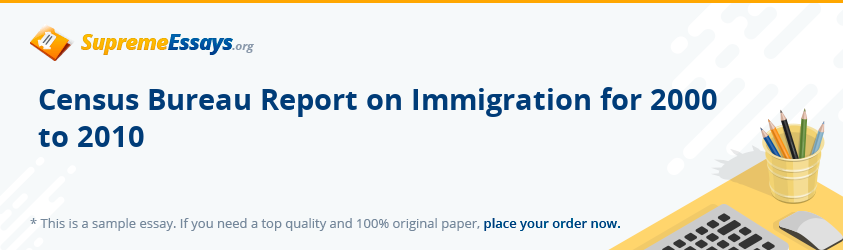 Census Bureau Report on Immigration for 2000 to 2010