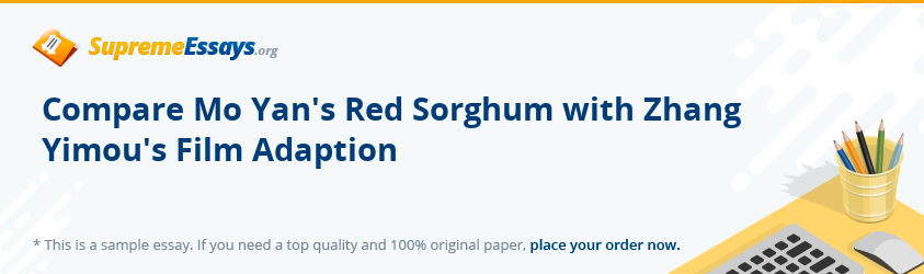 Compare Mo Yan's Red Sorghum with Zhang Yimou's Film Adaption