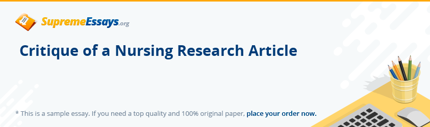 Critique of a Nursing Research Article