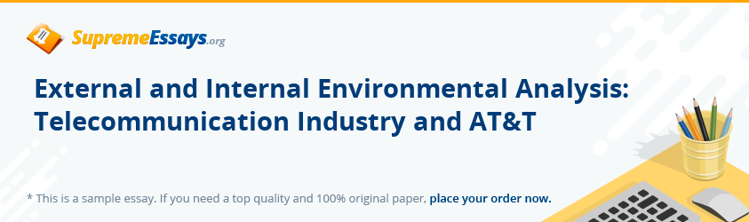 External and Internal Environmental Analysis: Telecommunication Industry and AT&T